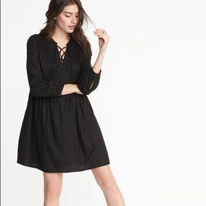 NWT old navy laceup pintuck Black Dress Medium